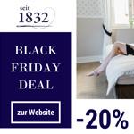 seit1832 feiert die Black Week mit 20% Rabatt auf nachhaltige Bettwäsche made in Germany!