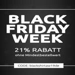 Black-Friday bei Shirtinator – 21% Rabatt auf ALLES beim Spezialisten für individuelle T-Shirts, Hoodies und Pullover