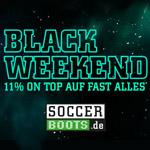 Sicher dir 11% Extrarabatt auf deine Fußballausrüstung mit den Black Week Deals bei Soccerboots.de