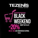 Black Friday Rabatte bei Tezenis – 20% auf alles und bis zu 50%  auf ausgewählte Artikel