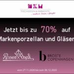 Markenporzellan und Gläser bis zu 70% günstiger