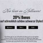 Nur heute an Halloween: 20% Rabatt auf schwarze Styles im Tom Tailor Online Shop