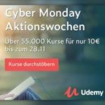 Nutze die Cyber Monday Aktionswoche bei Udemy: Über 55.000 Online-Kurse für nur 10€