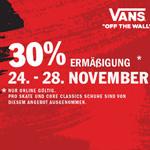 Noch bis Montag 30% Black Friday Rabatt im offiziellen Online-Store von Vans