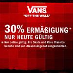 Nur heute 30% Ermäßigung im VANS Online-Shop