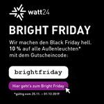 Bright Friday bei watt24 – 10% Rabatt auf alle Außenleuchten