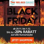 Spare jetzt bis zu 20% auf deinen Kurzurlaub mit den Black Friday Angeboten von we-are.travel