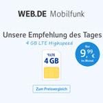 Empfehlung des Tages – 4 GB LTE Highspeed von Web.de Mobilfunk nur 9,99 EURO im Monat