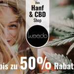 Sicher dir jetzt bis zu 50% Rabatt auf zahlreiche Produkte des Hanf- und CBD-Sortiments im Store von Weedo