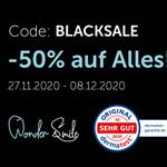Blacksale bei WonderSmile mit 50% Rabatt auf das komplette Sortiment an Zahnpflege und Zahnaufhellung