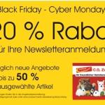 Vom Black Friday bis zum Cyber Monday bis zu 50 % sparen bei Zookauf Zwahr!